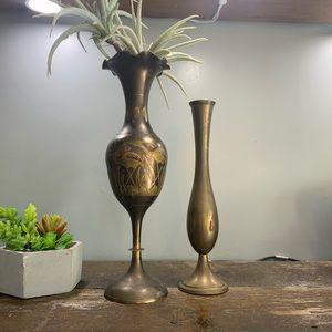 🌵🌵 Brass Vintage Hans Carved Vase Set of 2